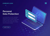 Protecting personal data concept, internet account security guarantee isometric vector. Frame with login and password in front of open laptop screen on blue honeycomb background, landing web site page