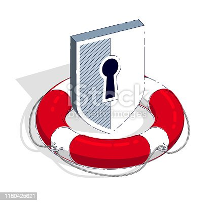 Protection and aid concept, Life Buoy and Shield isolated on white background. Vector 3d isometric illustration, thin line design.