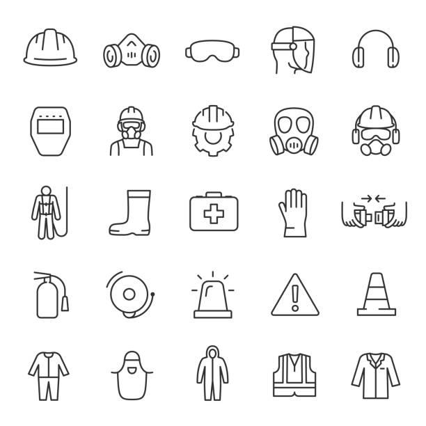 ochrona i bezpieczeństwo w miejscu pracy, zestaw ikon. bezpieczeństwa w miejscu pracy, ikony liniowe. powiadomienie i ostrzeżenie o niebezpieczeństwie. edytowalny obrys - kask ochronny odzież ochronna stock illustrations
