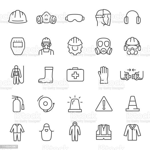 Protection And Safety In The Workplace Icon Set Work Area Safety Linear Icons Notification And Warning Of Danger Editable Stroke - Arte vetorial de stock e mais imagens de Bota