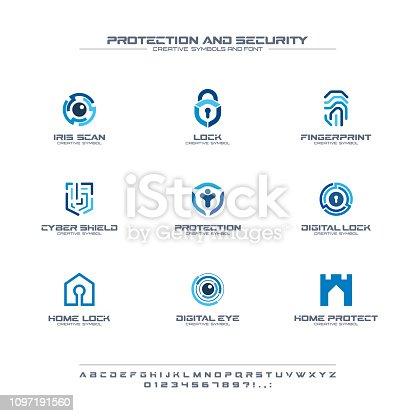 Protection and security creative symbols set, font concept. Home, people secure abstract business pictogram. Safe lock, padlock shield icon. Corporate identity alphabet, sign, company graphic design