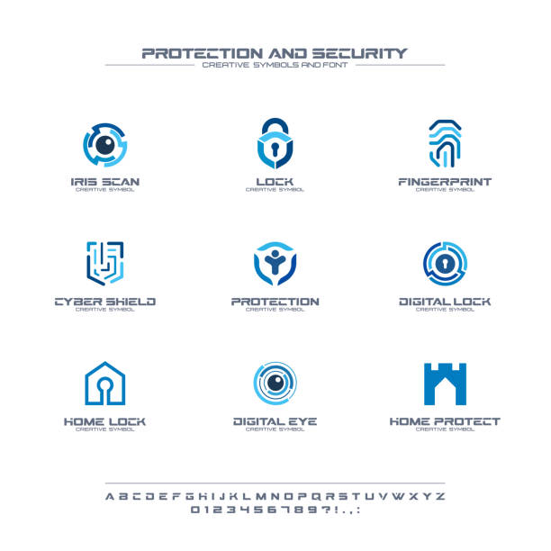 Protection and security creative symbols set, font concept. Home, people secure abstract business pictogram. Safe lock, padlock shield icon Protection and security creative symbols set, font concept. Home, people secure abstract business pictogram. Safe lock, padlock shield icon. Corporate identity alphabet, sign, company graphic design security stock illustrations