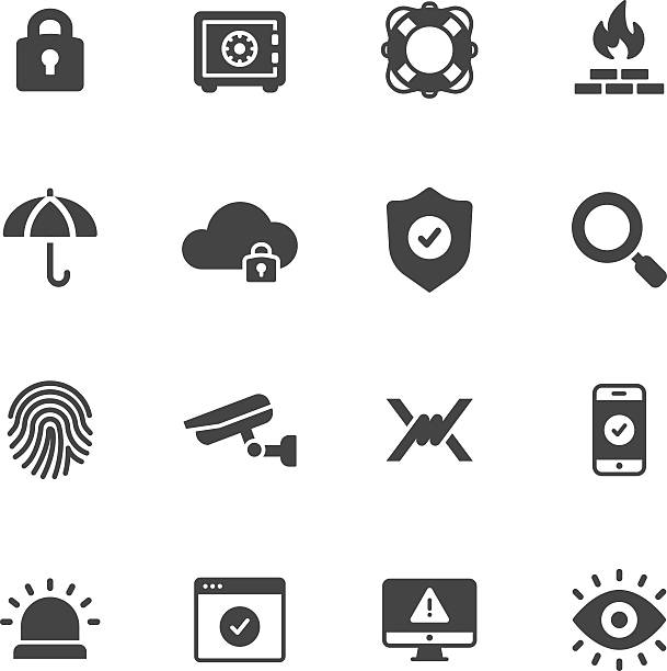 Protection and Security Icons Protection, safety and security icons security equipment stock illustrations
