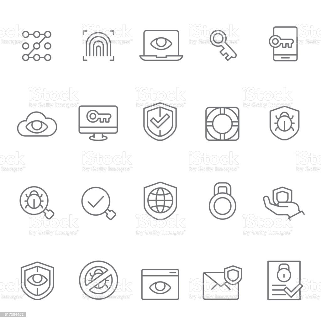 Protection and security  icons vector art illustration