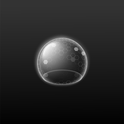 Protection bubble shield, force glowing energy field a vector illustration.
