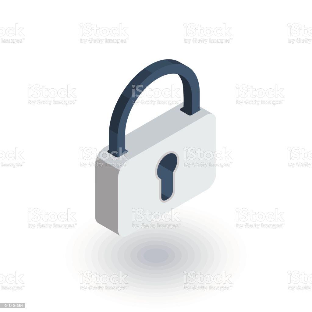 Schutz Geschlossenes Vorhängeschloss Passwort Isometrische Flache ...