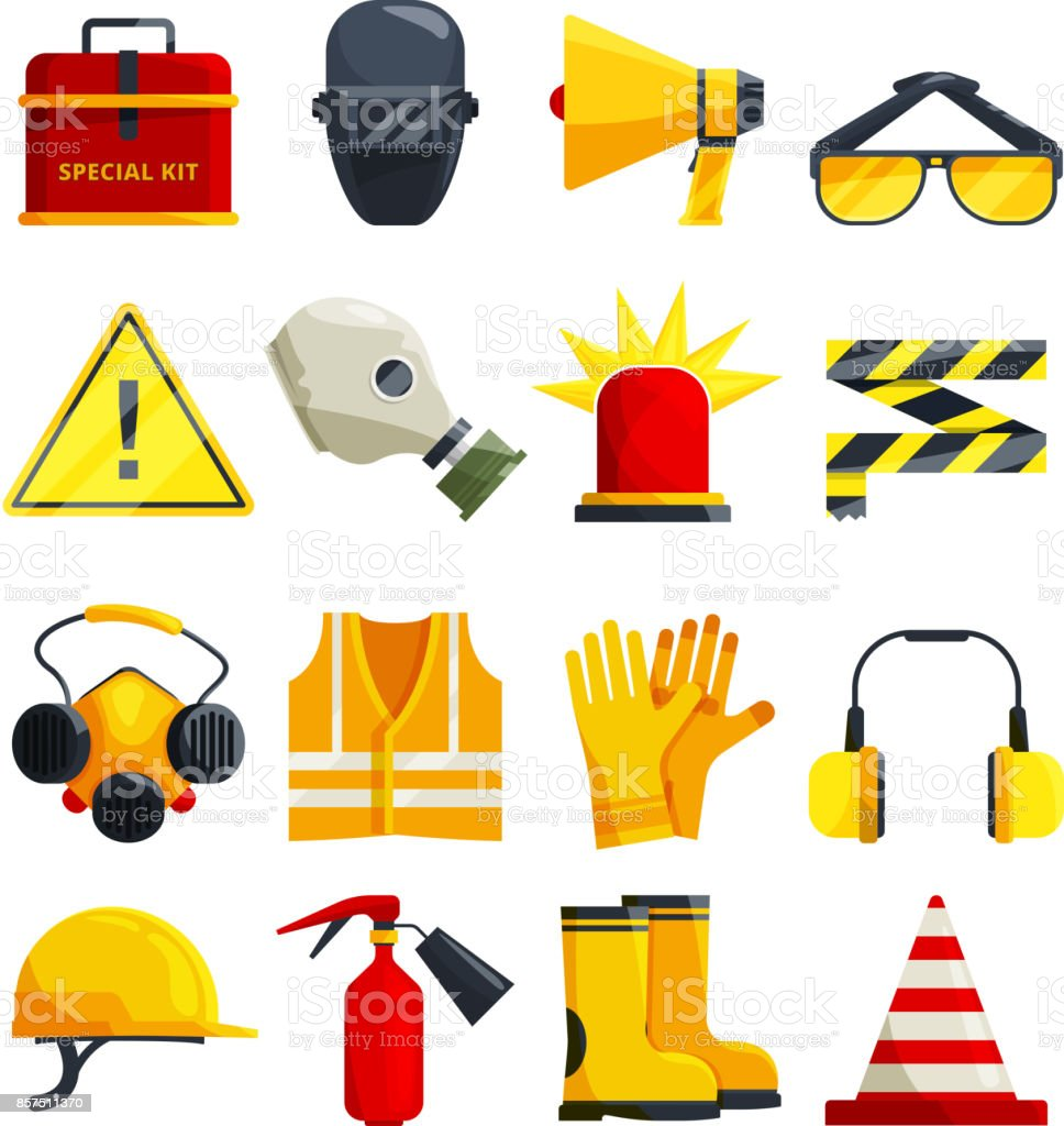 Protection clothing for work and safety equipment vector art illustration