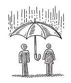 Hand-drawn vector drawing of a Protection Concept with a Couple under an Umbrella, it's raining. Black-and-White sketch on a transparent background (.eps-file). Included files are EPS (v10) and Hi-Res JPG.