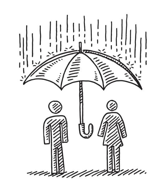 Protection Concept Umbrella Couple Drawing Hand-drawn vector drawing of a Protection Concept with a Couple under an Umbrella, it's raining. Black-and-White sketch on a transparent background (.eps-file). Included files are EPS (v10) and Hi-Res JPG. women stock illustrations