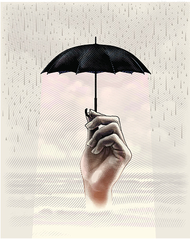 Engraving style illustration of umbrella protecting hand, waiting for metaphoric storm to pass.