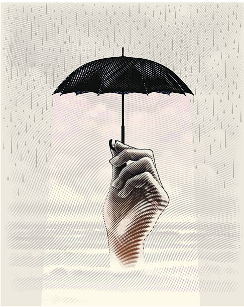 Protection From Storm Engraving style illustration of umbrella protecting hand, waiting for metaphoric storm to pass. modern art stock illustrations
