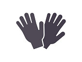 Protection gardening gloves flat icon
