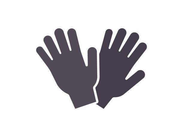 gartenarbeit handschuhe flach schutzsymbol - schutzhandschuhe stock-grafiken, -clipart, -cartoons und -symbole