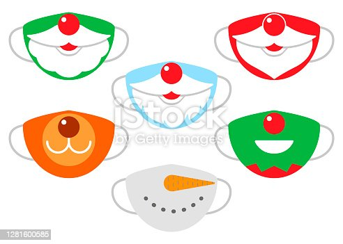 Protection individual masks mouth of santa claus, deer, snowman and elf. Face masks for Christmas, New Year. Vector illustration