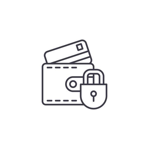 信用卡的保護線性圖示概念。保護信用卡線向量符號, 符號, 插圖。向量藝術插圖