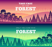 Protection of forests against fire Day. Take care of the forest illustration poster design. Flat vector banners style concept.