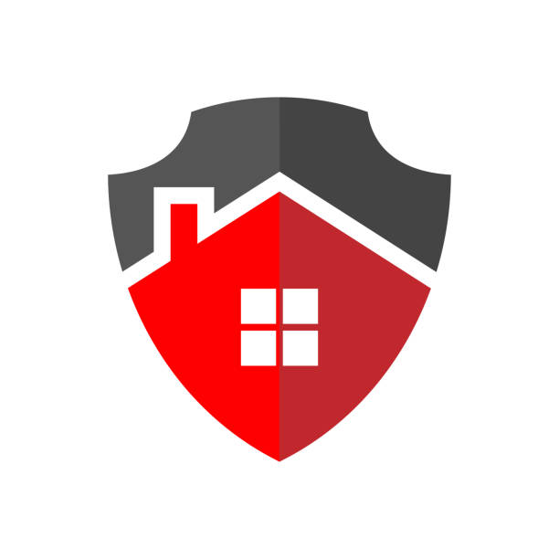 Protection of Home Logo. The image of the house in the form of a shield. Property Protection Concept. EPS 10. vector art illustration