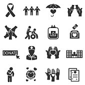 Protection of life and health, monochrome icons set.