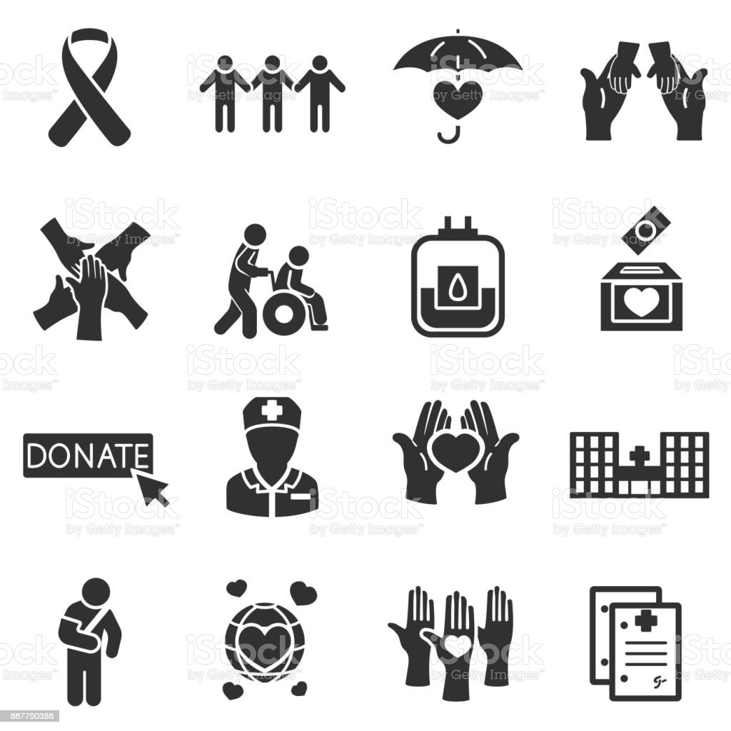 Protection of life and health, monochrome icons set. vector art illustration