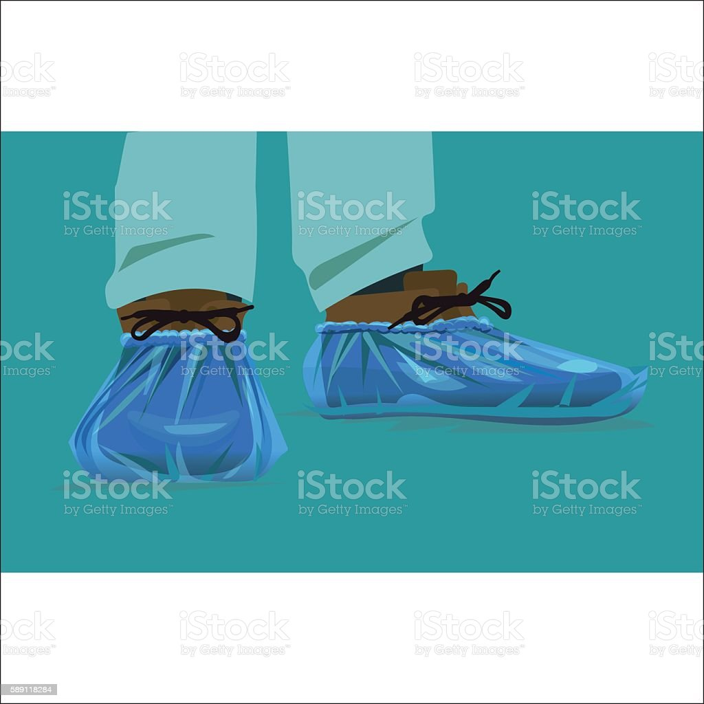 protection on its feet for the hospital, shoe covers cellophane vector art illustration