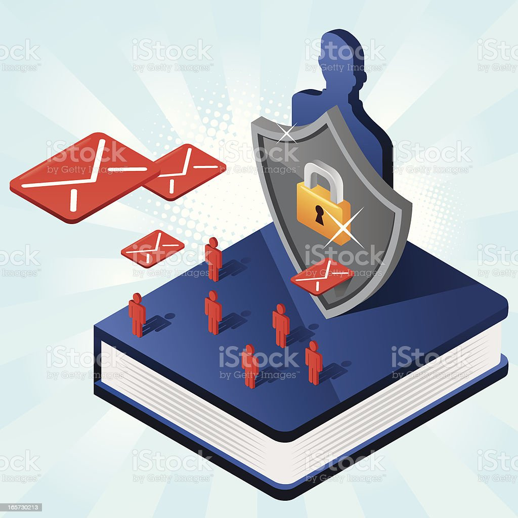 Protection on the book with shield and envelopes vector art illustration