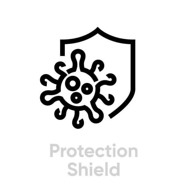 Protection Shield vector icon line editable vector art illustration