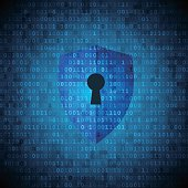 Protection shield with keyhole on digital data background