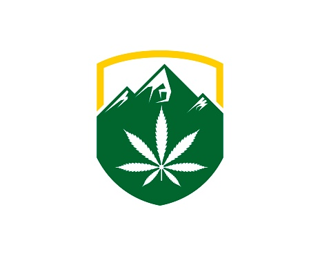Protection shield with mountain and cannabis