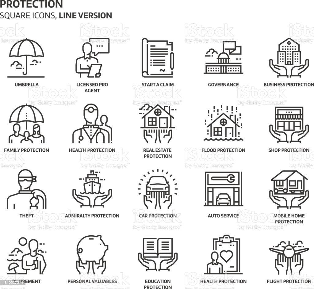 Schutz, quadratische Icon-set – Vektorgrafik