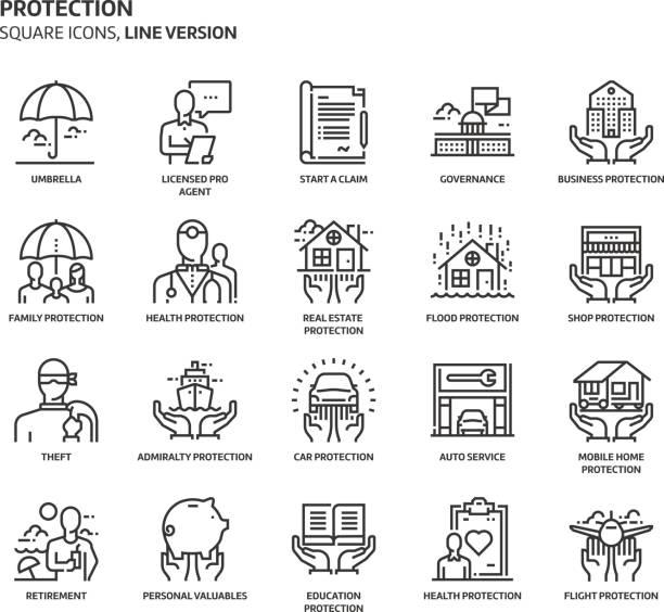 ilustrações, clipart, desenhos animados e ícones de proteção, conjunto de ícones quadrados - roubo de identidade