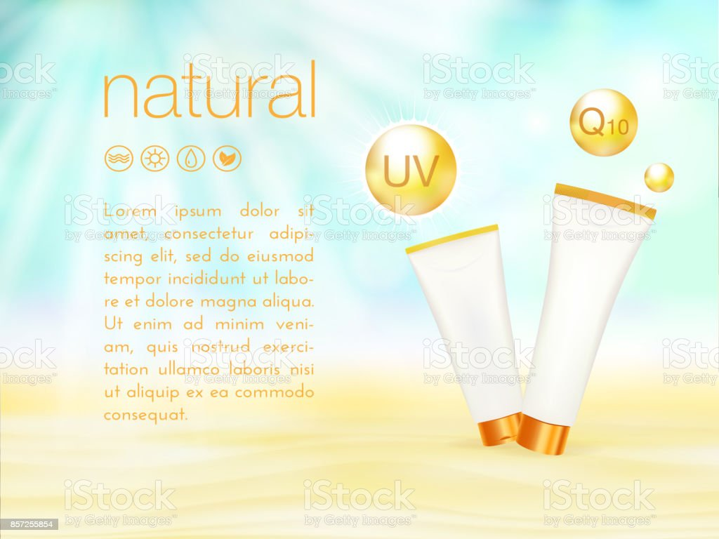 UV protection. Sunblock ads template, sunscreen and sunbath cosmetic products design. 3d vector illustration. Sunny beach background. moisturizer cream package. vector art illustration