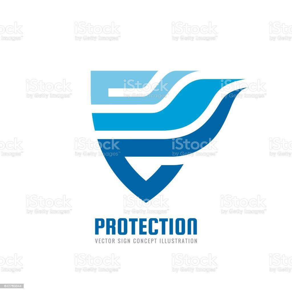 Protection - illustration de concept pour le logo vector. Bouclier abstraite avec signe créative d'aile. Élément de Design. - Illustration vectorielle