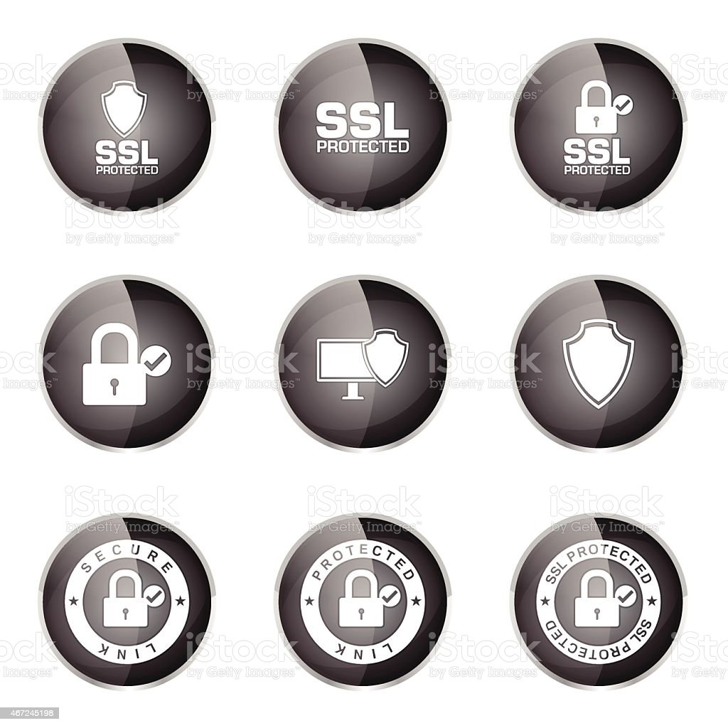 Protection Web Internet Black Vector Button Icon Design Set