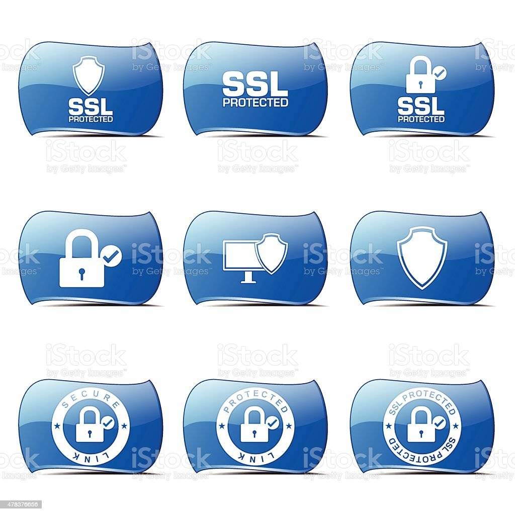 Protection Web Internet Blue Vector Button Icon Design Set