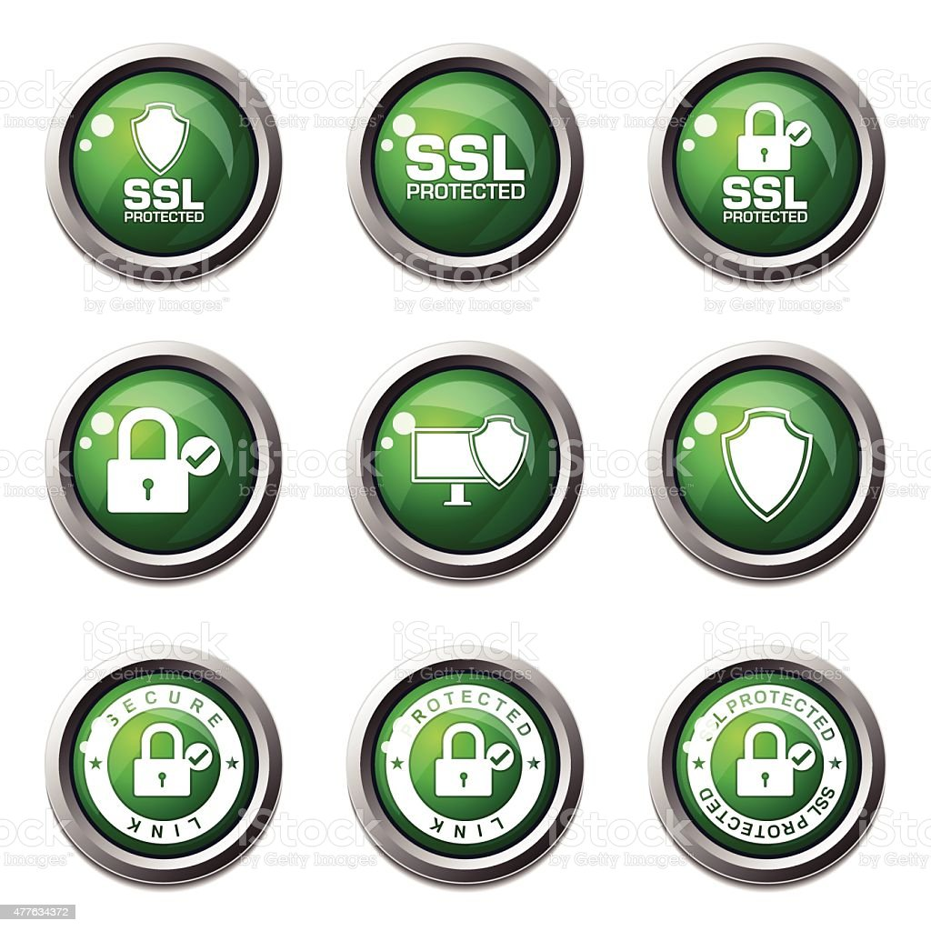 Protection Web Internet Green Vector Button Icon Design Set