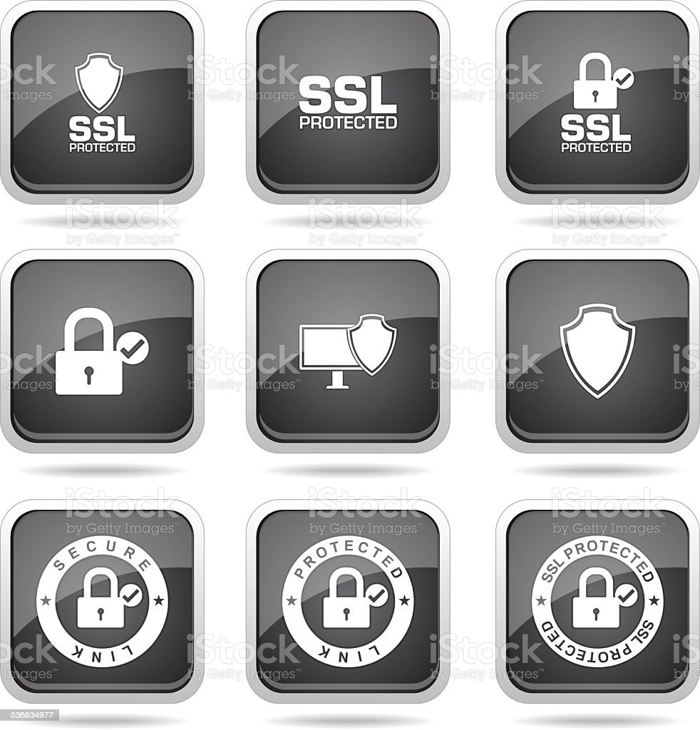 Protection Web Internet Square Vector Black Button Icon Design Set