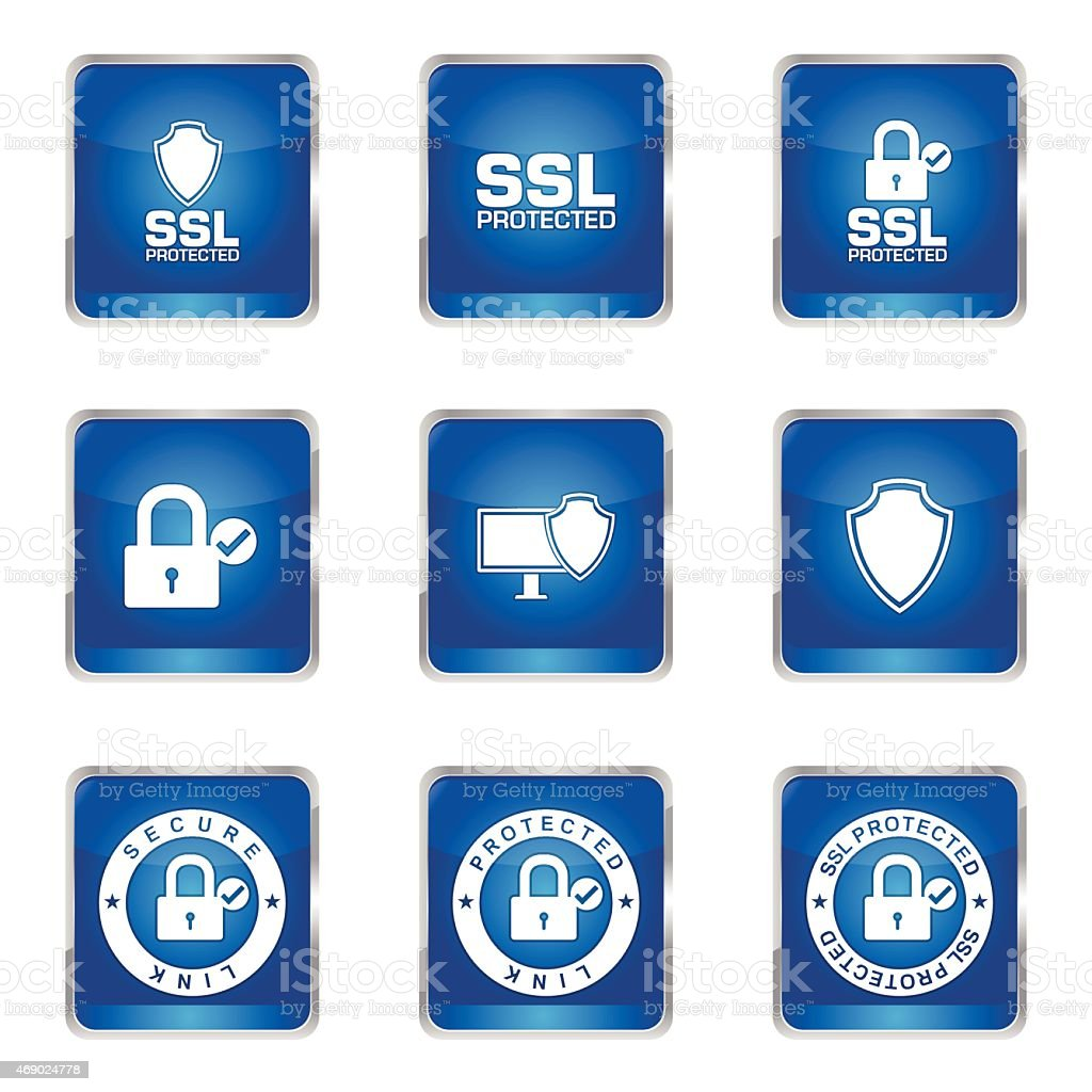 Protection Web Internet Square Vector Blue Icon Design Set