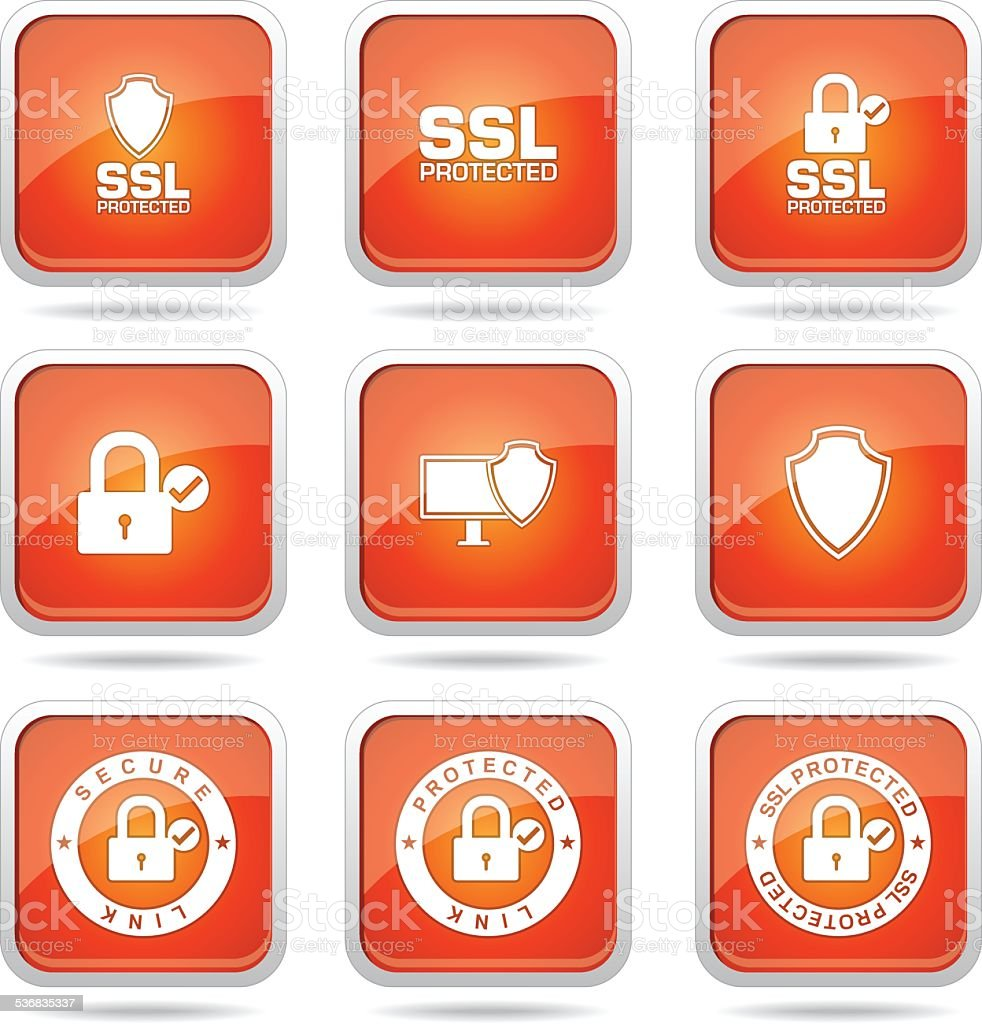 Protection Web Internet Square Vector Orange Icon Design Set
