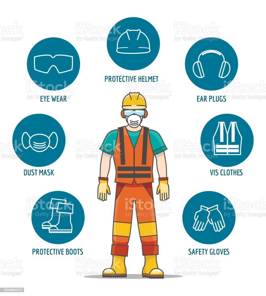 Protective and Safety Equipment vector art illustration