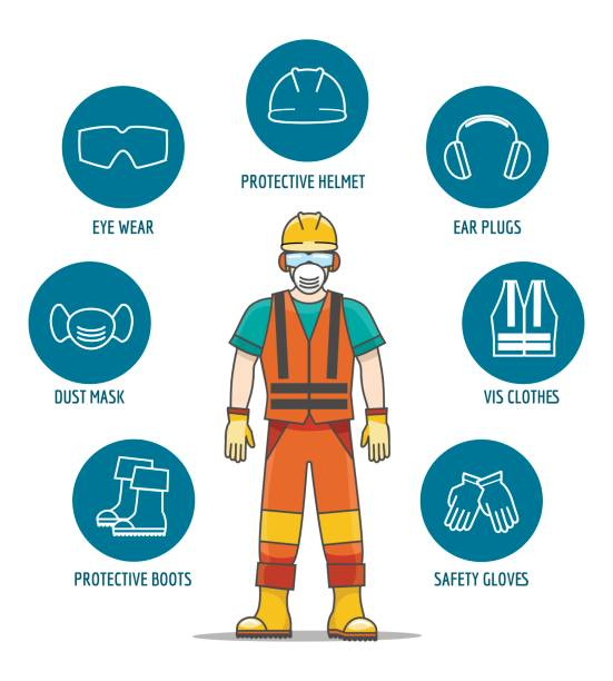 Protective and Safety Equipment Protective and Safety Equipment or ppe vector illustration. Helmet and glasses, gloves and headphones icons for worker job protection security equipment stock illustrations