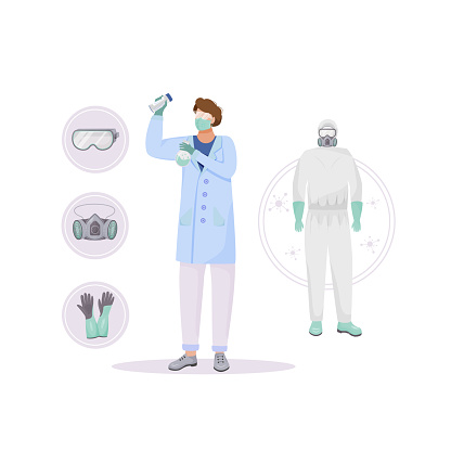 Protective clothing flat concept vector illustration