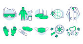 Protective clothing doodle set. Collection of medical PPE icons. Equipment for coronavirus protection face mask gloves doctor gown hair cover biohazard waste outline pictogram illustration for print.
