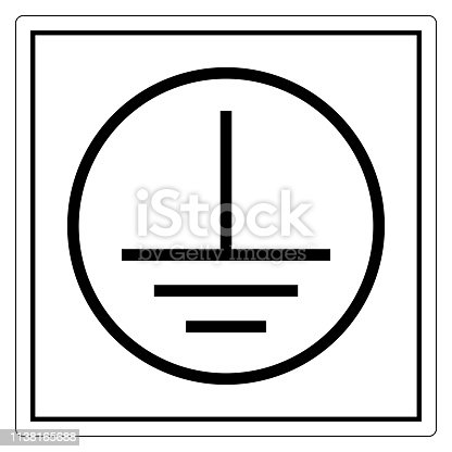 Protective Earth Ground Symbol Sign, Vector Illustration, Isolate On White Background Label. EPS10