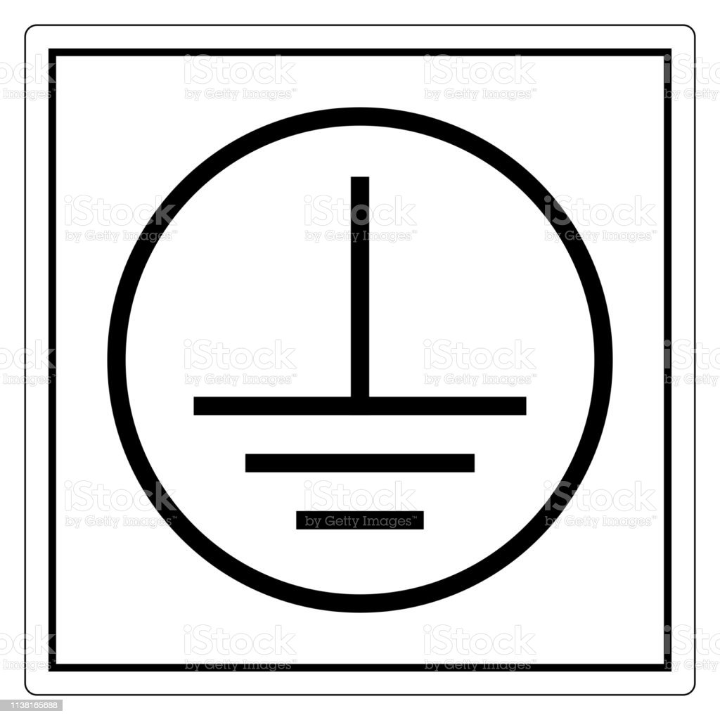 Protective Earth Ground Symbol Sign, Vector Illustration, Isolate On White Background Label. EPS10 vector art illustration