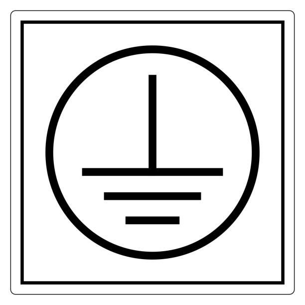 bildbanksillustrationer, clip art samt tecknat material och ikoner med skyddande earth ground symbol tecken, vektor illustration, isolera på vit bakgrund label. eps10 - grundstött