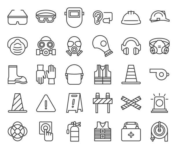wyposażenie ochronne i ikona zarysu strażaka - kask ochronny odzież ochronna stock illustrations