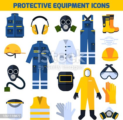Protective uniform respiratory equipment flat icons collection for medical professionals and construction workers abstract isolated vector illustration