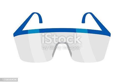 Protective eyeglasses isolated on white. Equipment for work with chemicals. Plastic safety eyewear. Accessory for scientific work and conducting research analysis. Vector cartoon illustration