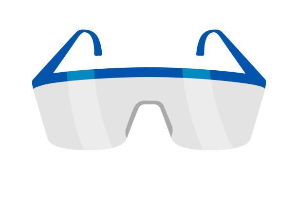 schutzbrille für die arbeit mit chemikalien - schutzbrille stock-grafiken, -clipart, -cartoons und -symbole