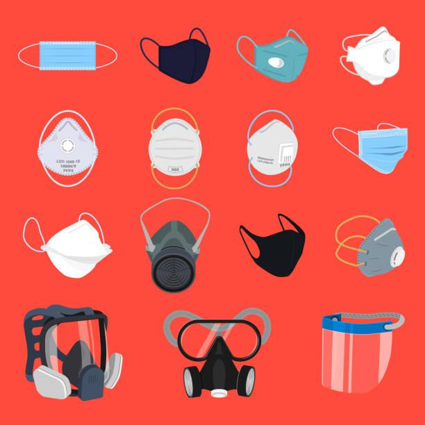 schutzmaske und atemschutzgerät - ffp2 maske stock-grafiken, -clipart, -cartoons und -symbole